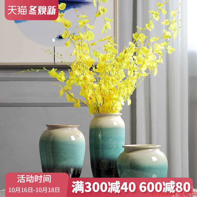 Jingdezhen ceramic flower implement of new Chinese style furnishing articles sitting room vase dried flowers, TV ark, porch table household decoration