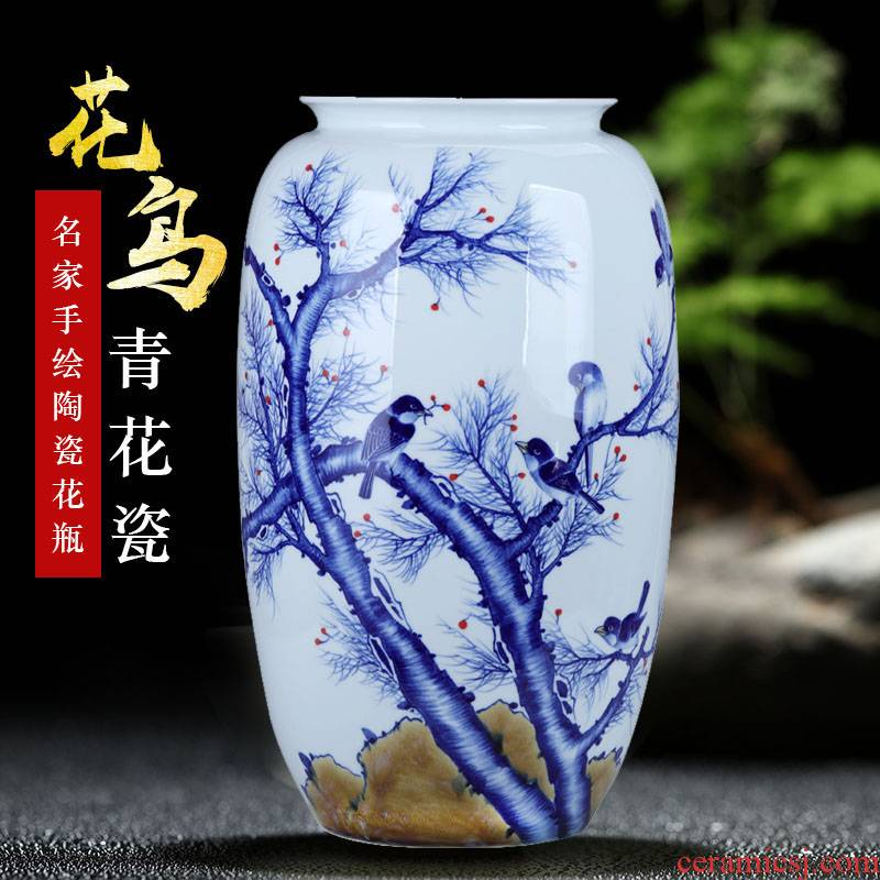 Jingdezhen famous hand - made painting of flowers and blue and white porcelain vase of large diameter sitting room wide expressions using ceramic furnishing articles lucky bamboo arranging flowers