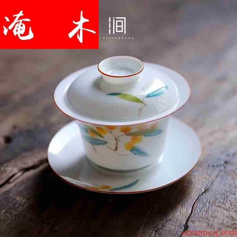 Flooded wood jingdezhen three mercifully machine tureen tea cups ceramic kung fu home very hot under the big three to glaze enamel