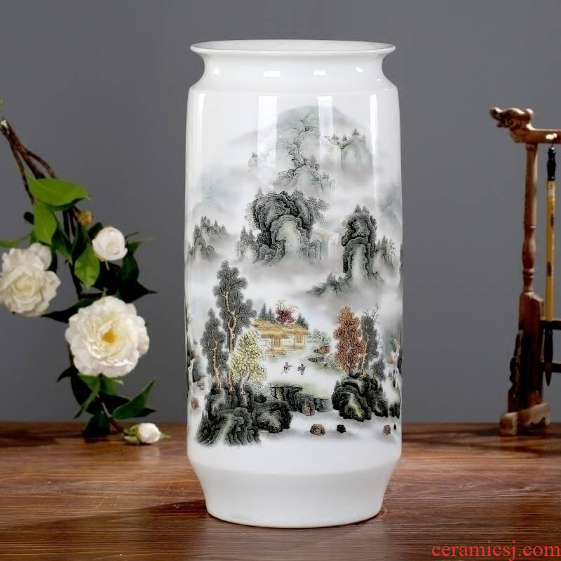 Jingdezhen ceramics jiangshan picturesque vase home sitting room mesa furnishing articles study ancient frame of modern decoration