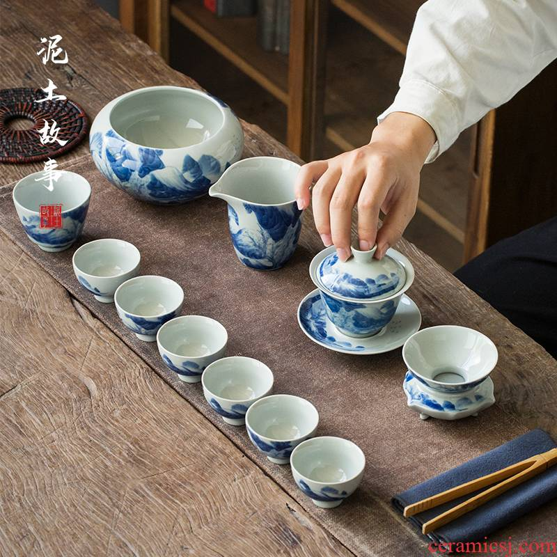 Jingdezhen hand - made porcelain kangxi landscape tureen tea set suits for Chinese zen household kung fu tea set gift boxes