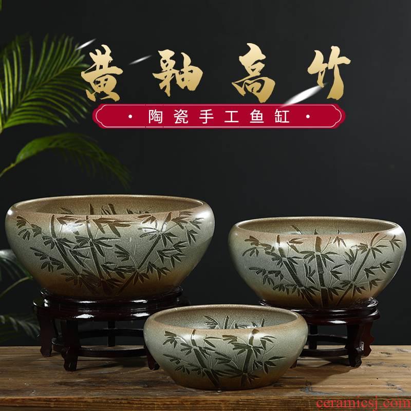 Jingdezhen ceramic aquarium water lily bowl lotus basin small home aquariums desktop feng shui turtle goldfish bowl