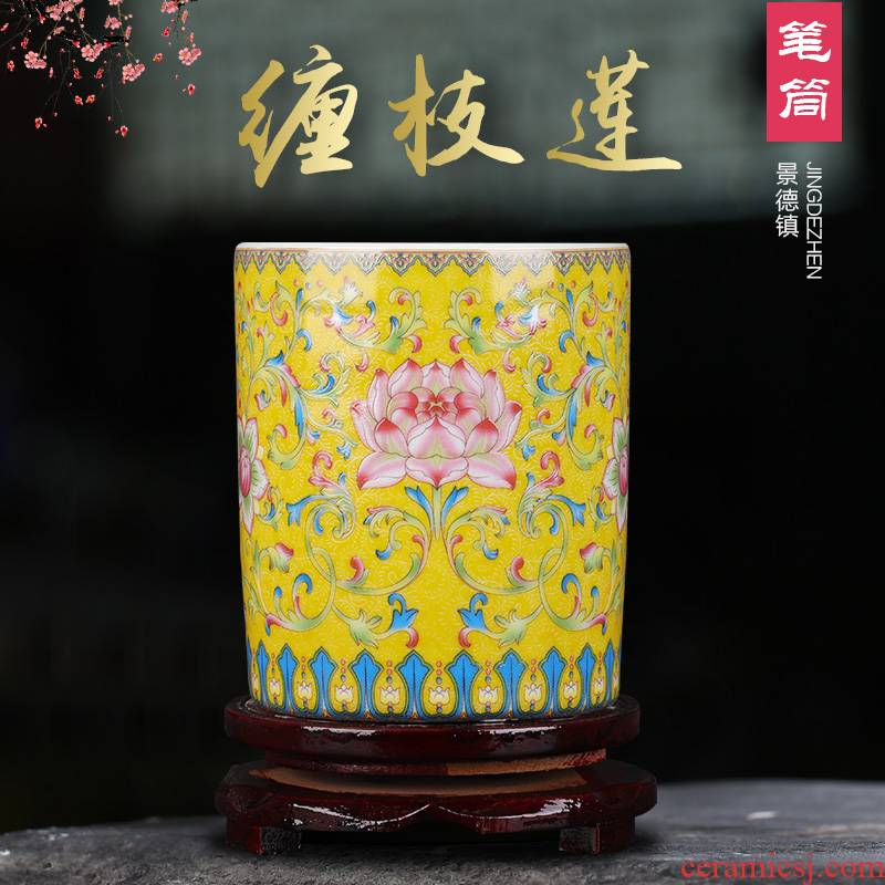 Jingdezhen ceramics tube brush pot chopsticks four treasures home study adornment furnishing articles the teacher student supplies