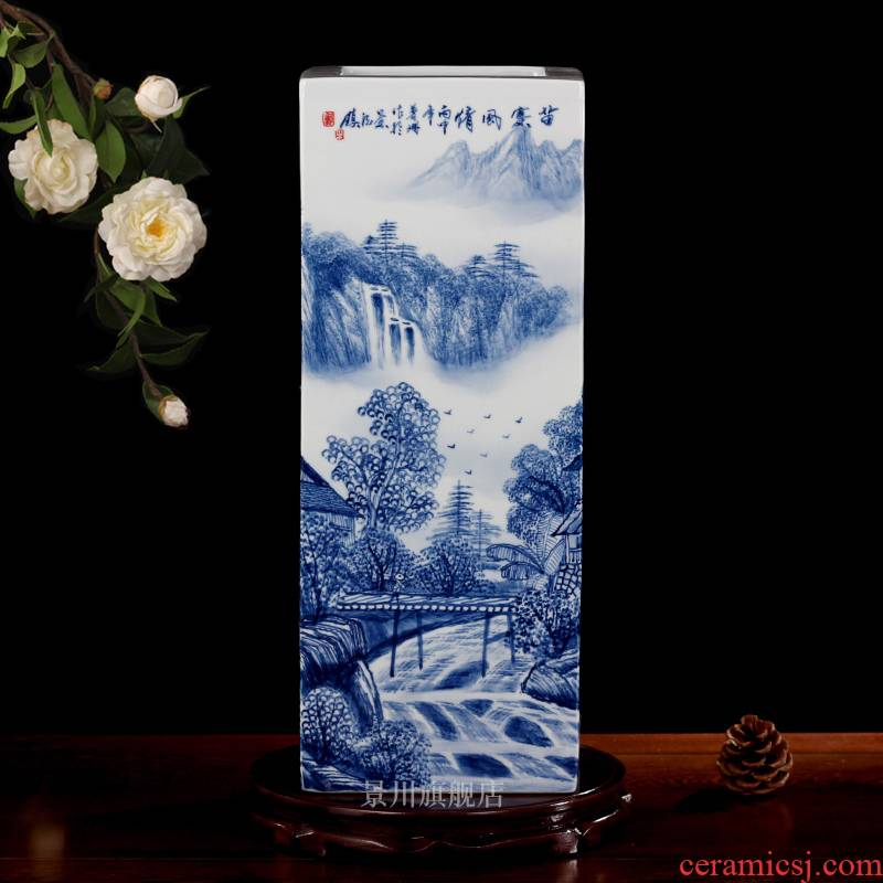 Hand draw the miao customs mesa square vase of blue and white porcelain of jingdezhen ceramics receive furnishing articles study calligraphy and painting