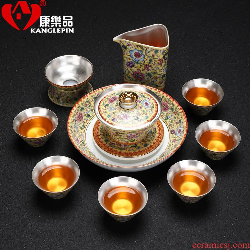 Recreational product embossed painting ceramic colored enamel coppering. As silver 999 of a complete set of kung fu tea set lid bowl of tea cups