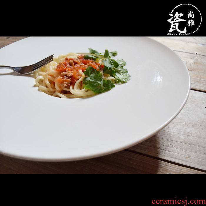 Contracted white straw tableware ceramic plate plate of pasta dish disc western - style food dish soup plate deep UFO home plate