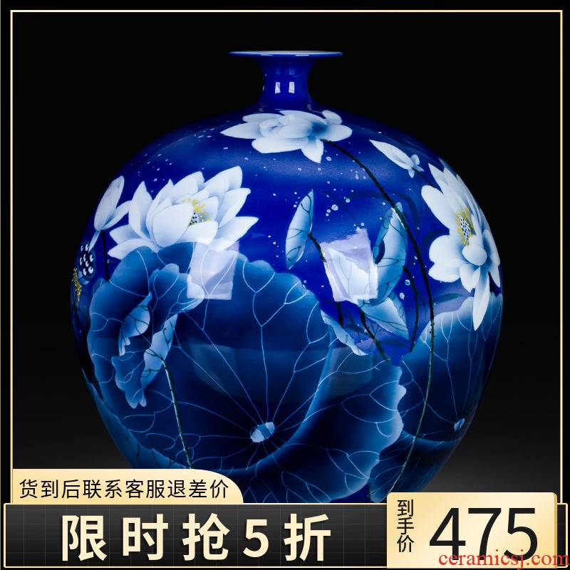 Jingdezhen ceramic big pomegranate bottles of hand made lotus large ground blue and white porcelain vases, furnishing articles sitting room decoration