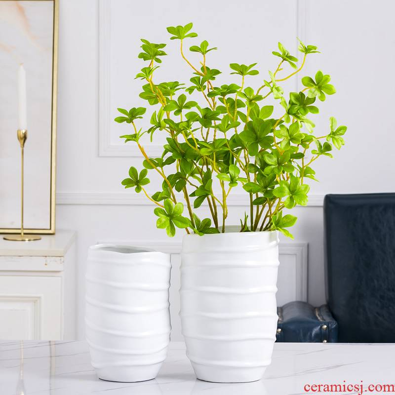 White ceramic vase furnishing articles creative fashion household Nordic dried flower flower arranging flower art table sitting room adornment flowers