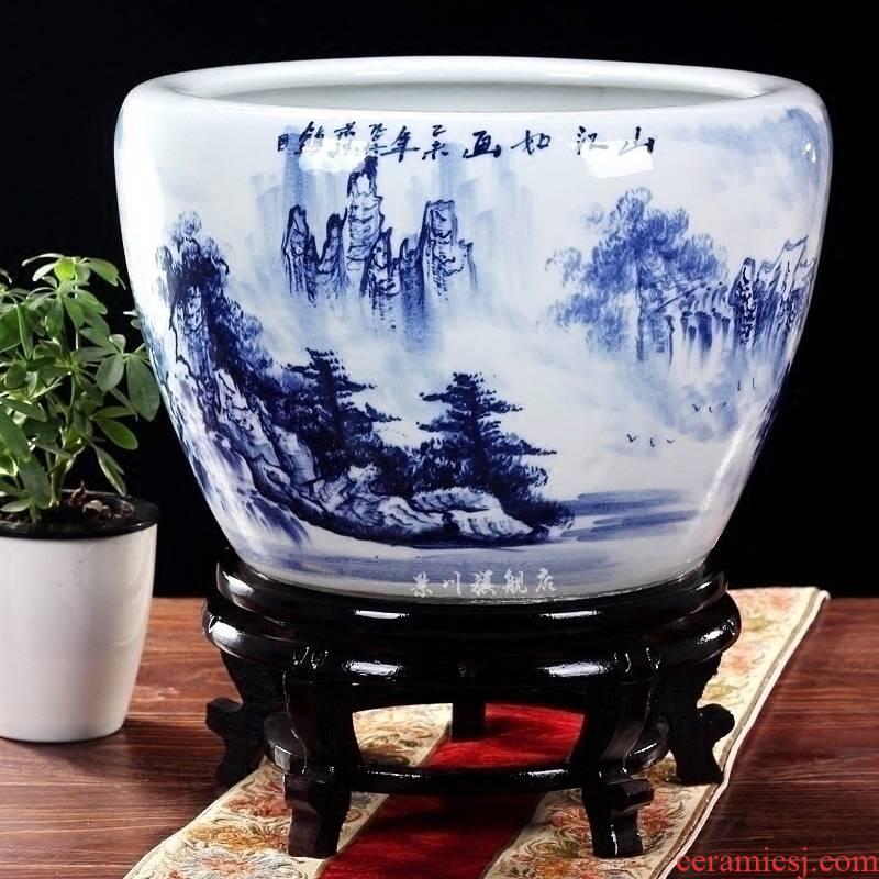 Jingdezhen ceramics large brocade carp goldfish bowl water lily lotus tortoise cylinder cylinder freehand brushwork in traditional Chinese home decoration furnishing articles