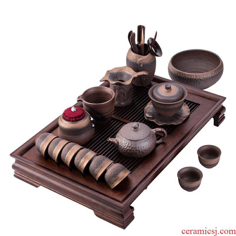 Coarse ceramic tea set ceramic kung fu tea set the whole household contracted office teapot teacup tea tray tureen restoring ancient ways