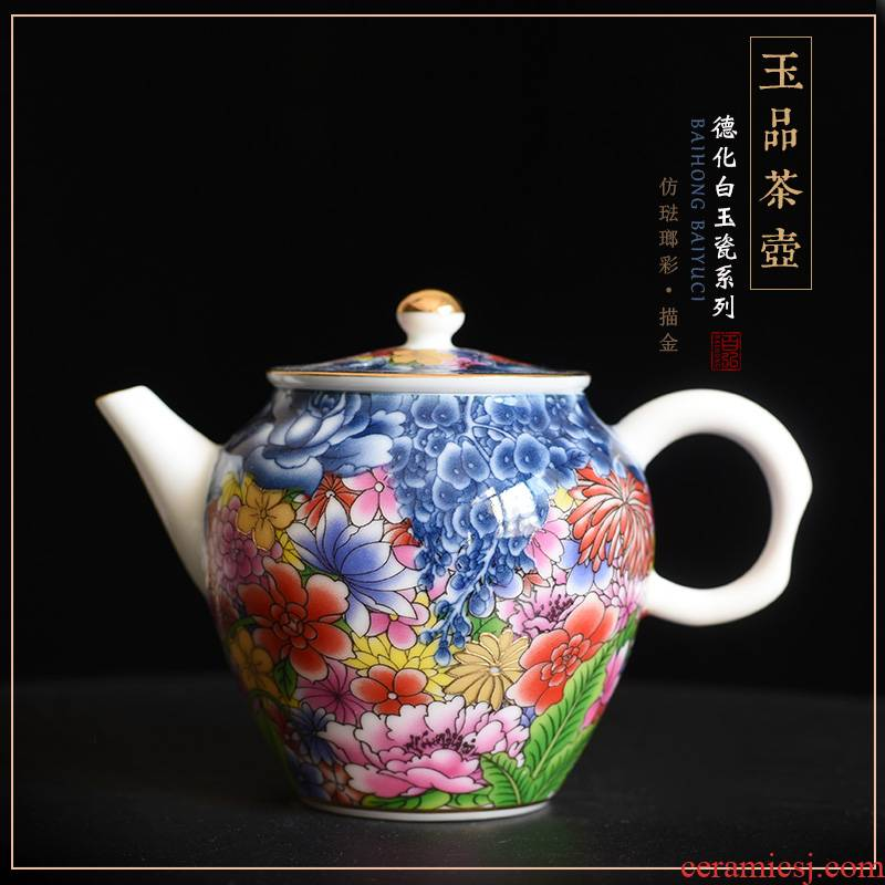 Imitation enamel see colour on flower ceramic teapot kung fu tea set the see colour blue and white porcelain enamel teapot single pot by hand