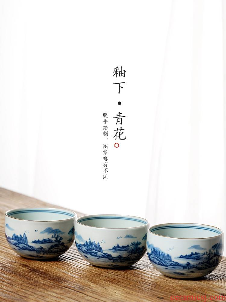 Jingdezhen blue and white master cup of pure manual hand - made ceramic sample tea cup single cup large landscape kung fu tea cups