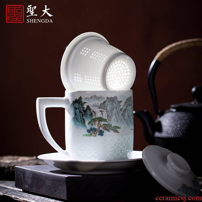 Holy big office cup hand - made of ceramic - new color wind stream and exquisite office cup all hand jingdezhen porcelain tea set