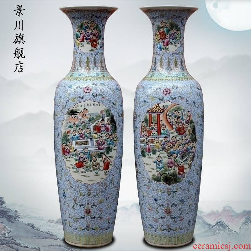 Hand in the spring of the ancient philosophers make jingdezhen ceramic floor big vase sitting room of Chinese style household furnishing articles stores the hall decoration
