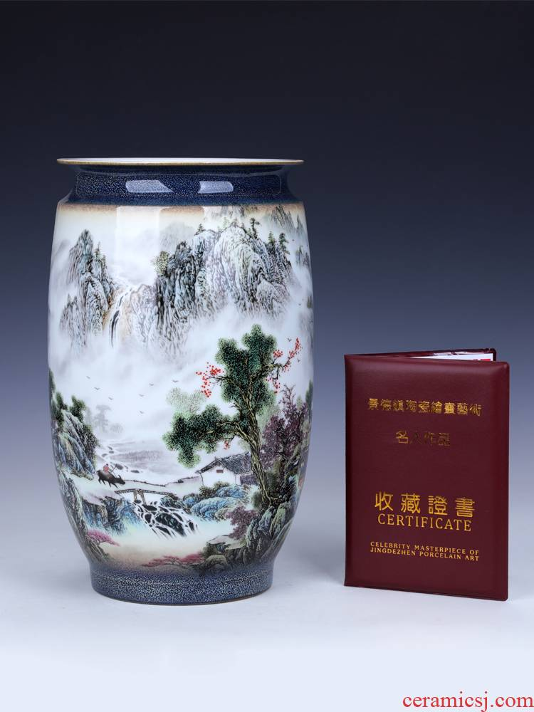 Jingdezhen big lucky bamboo vase water raise wide expressions using ceramic landscape place small living room home decoration flower arrangement