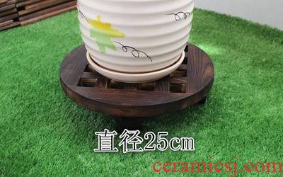 Flowerpot holder, flower flower towing bracket wood bottom pull flower pot tray is durable belt pulley tray tray interior contracted base