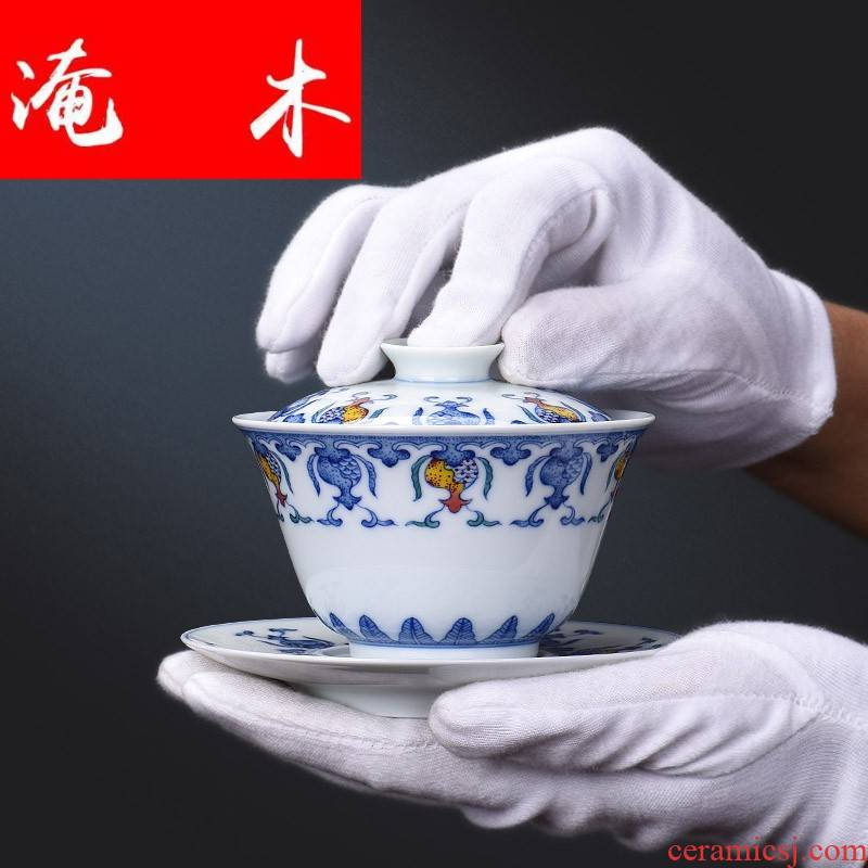 Submerged wood jingdezhen blue and white ceramics bucket color manual all three tureen kung fu tea bowl