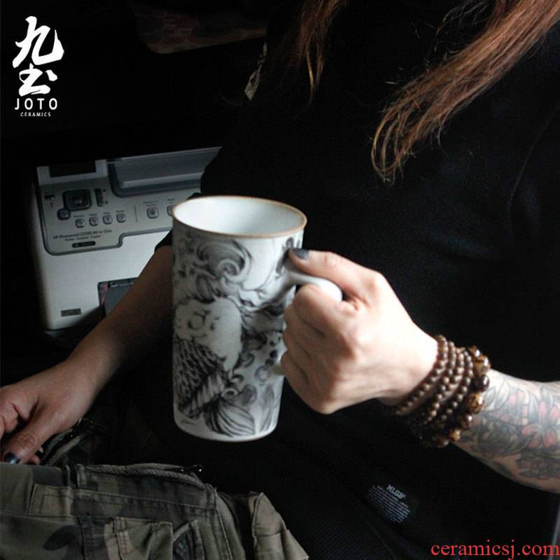 About Nine soil tattoo contracted glass mugs high - capacity ceramic cup individuality creative beer male coffee cup