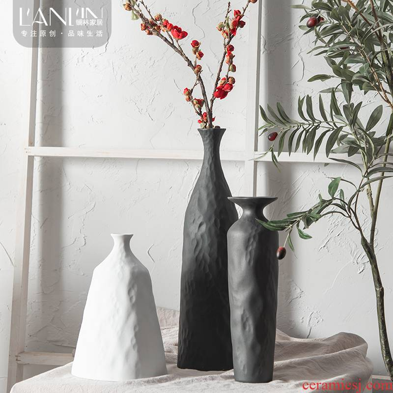 The Nordic idea contracted ins wind ceramic vase living room table dry flower arranging flowers white light modern key-2 luxury vase