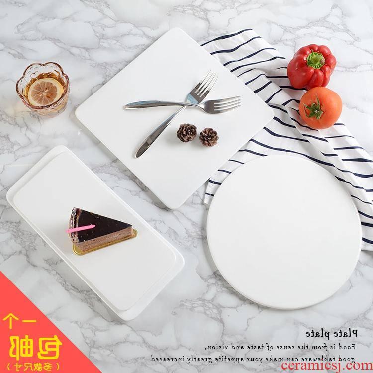 The kitchen ceramic western - style food plate baking utensils tetragonal bundt cake plate rectangular flat plate sushi plate type