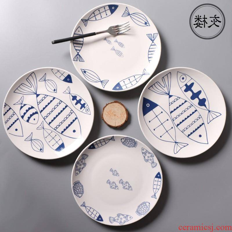 The kitchen creative steak hand - made ceramic western food fish tray was 8 inches household gift porcelain dish plate round plate