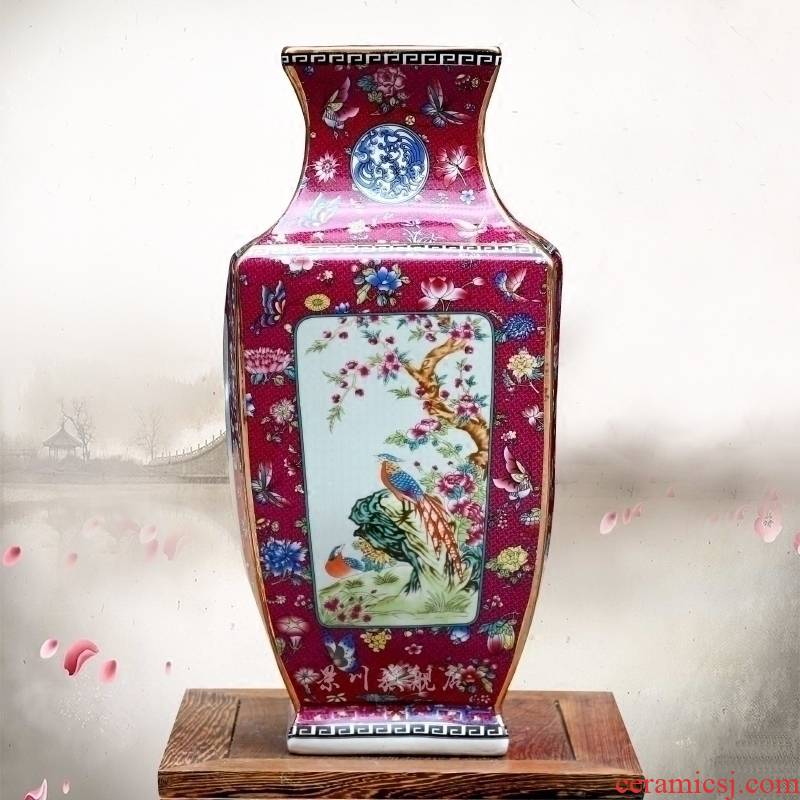 Pastel peony square bottle of jingdezhen ceramic sitting room ground flower arranging furnishing articles hotel process classical household act the role ofing is tasted