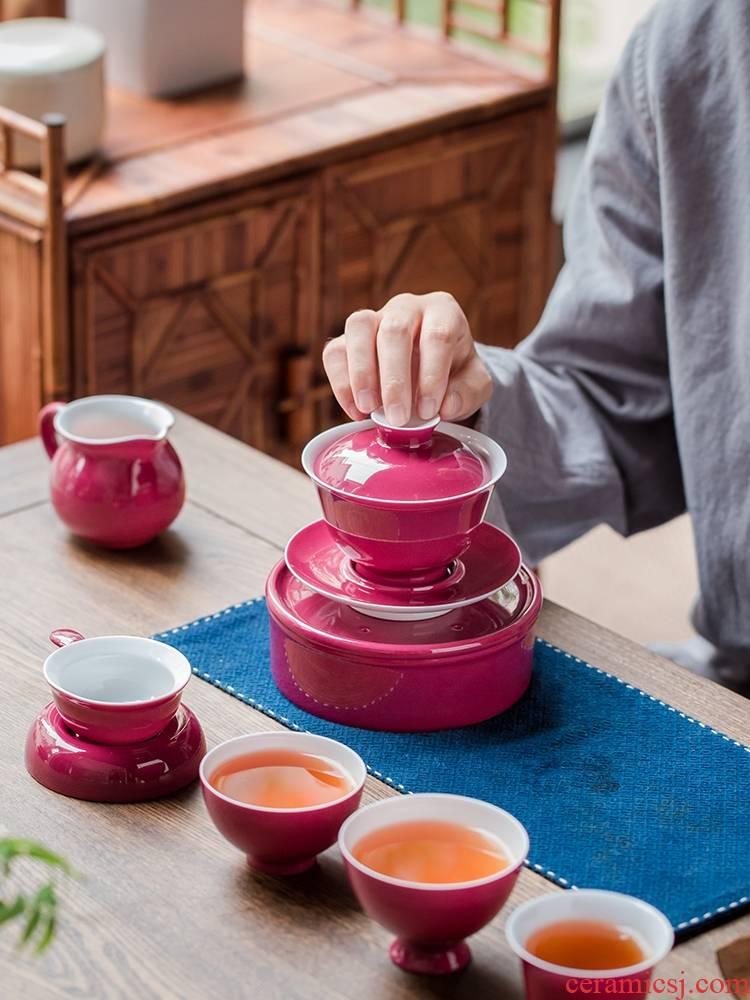 Jingdezhen ceramic carmine tureen bowl teapot teacup masters cup tea service of a complete set of household kung fu tea set