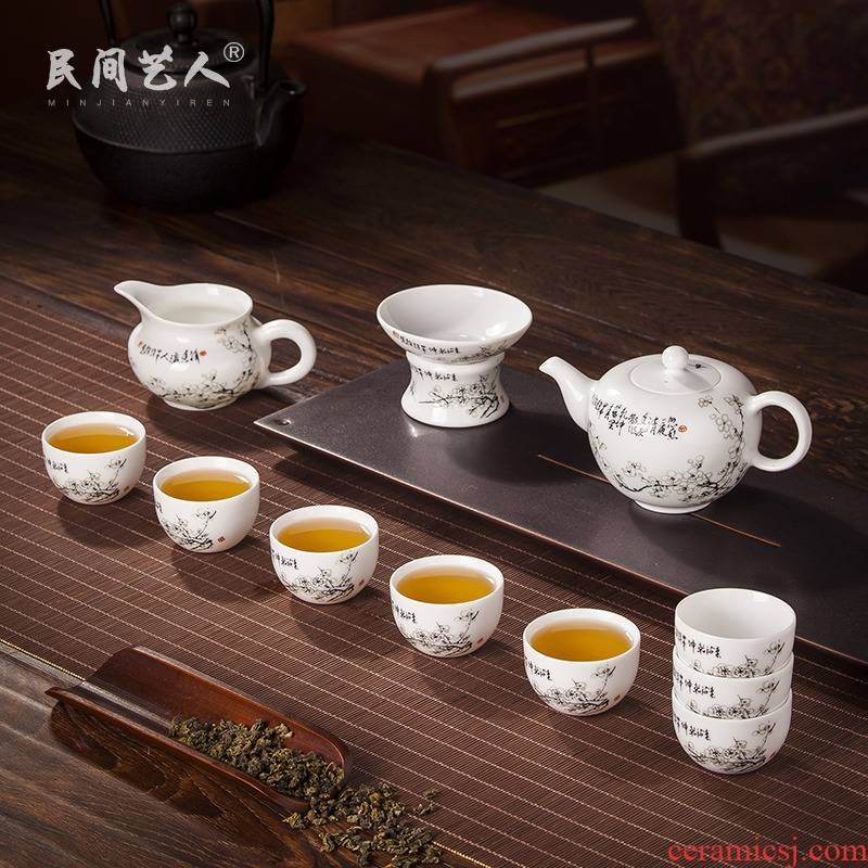 Packages mailed on the glaze color of jingdezhen ceramic kung fu tea set fair a complete set of the teapot cup household gift porcelain cups