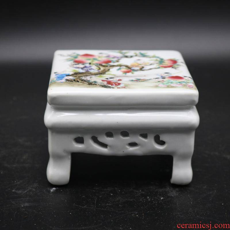 Pastel nine son climb peach hollow out of the republic of China desk antique porcelain antiques collectables - autograph garage study furnishing articles