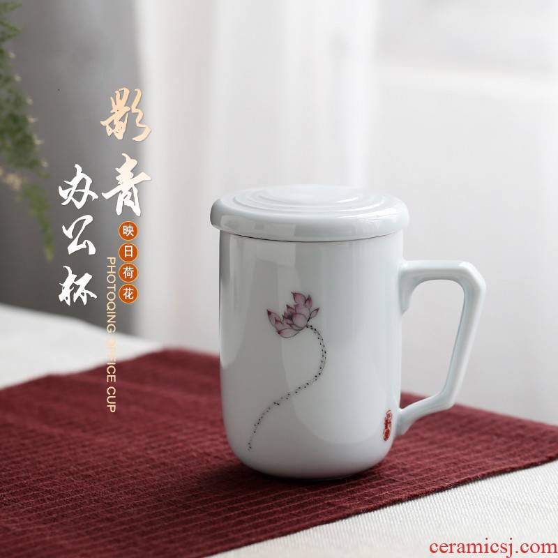 . Poly real boutique scene. Pure hand - made ceramic cups with filter with cover tea separate office S cup of tea cup