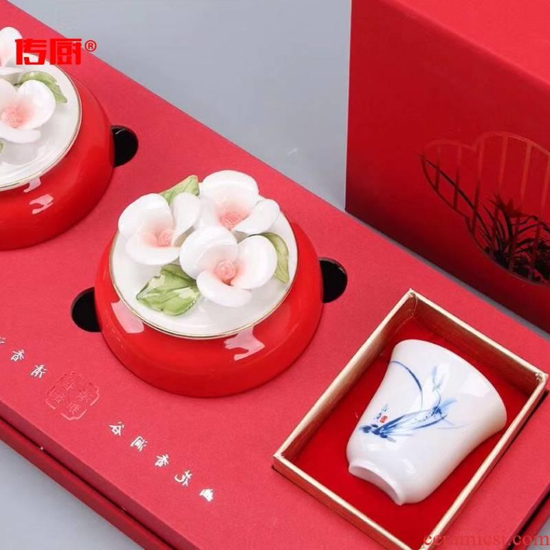 The kitchen ceramic tea pot hand flowers seal pot saffron stereo porcelain tea set gift box packaging
