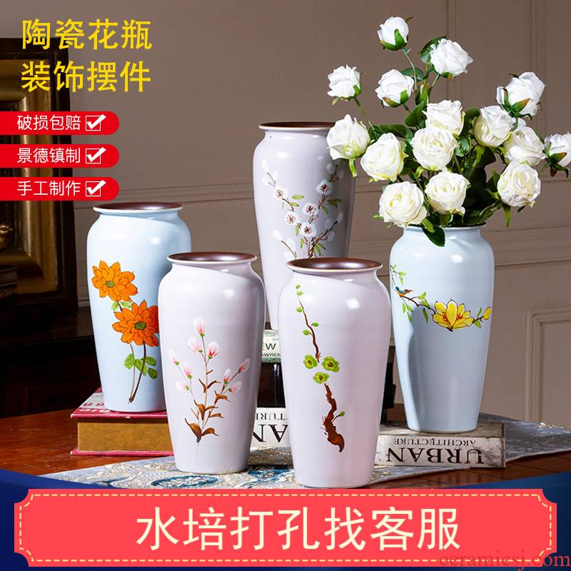New Chinese style is I hand - made of rural contracted jingdezhen ceramic vase light key-2 luxury furnishing articles custom floral outraged sitting room adornment