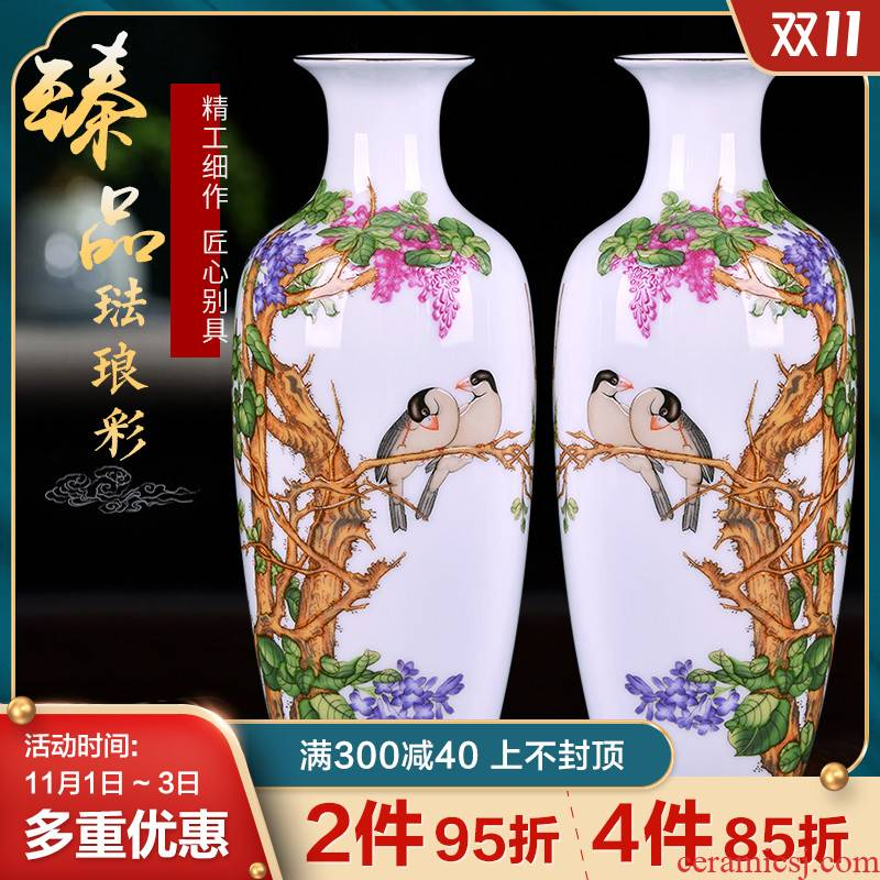 Archaize of jingdezhen ceramics powder enamel vase small flower arranging Chinese style household adornment desktop furnishing articles rich ancient frame