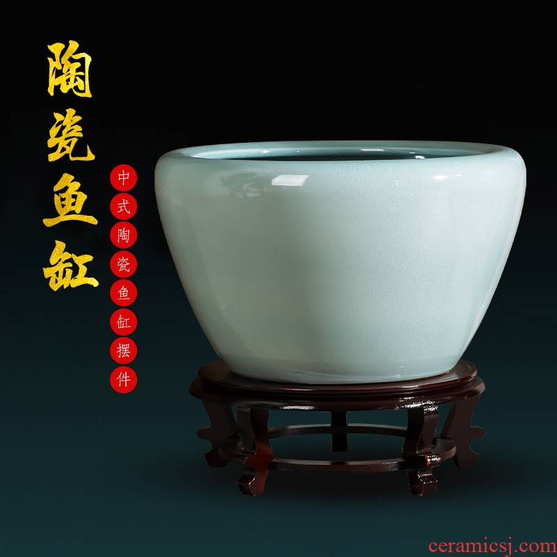 Jingdezhen ceramics basin of archaize goldfish turtle cylinder extra large water lily cylinder courtyard sitting room adornment is placed