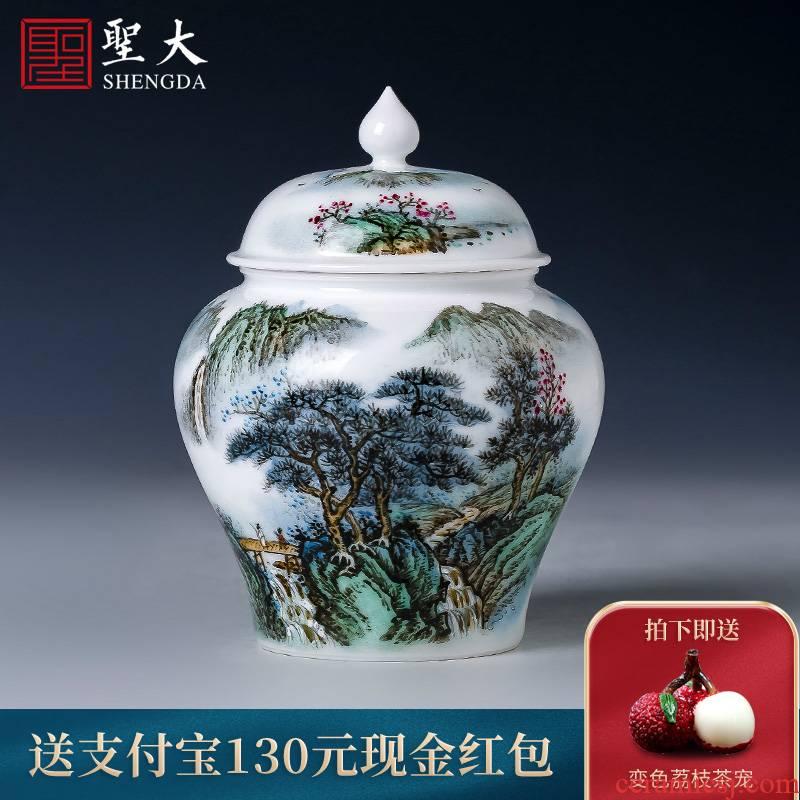 Holy big ceramic tea pot new hand - made color landscape general storage POTS of jingdezhen all hand tea accessories