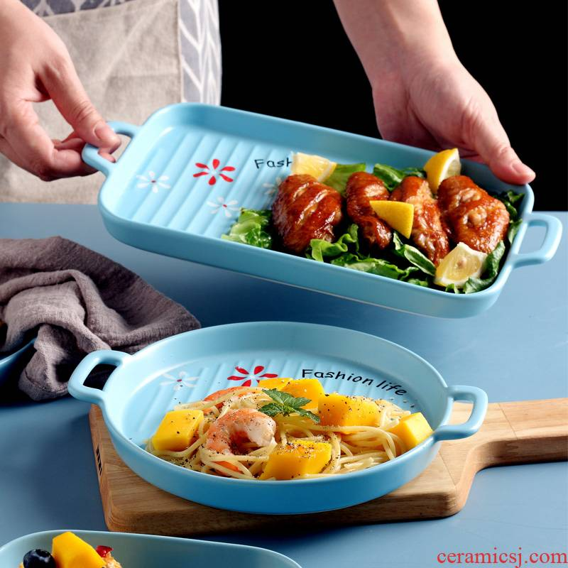 Ceramic ears creative dish dish dish home baking pan bake bowl for FanPan microwave oven special dishes