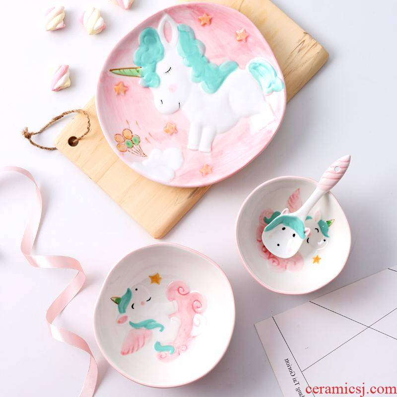 The kitchen household animal dishes The express unicorn ceramic tableware four - piece Korean creative move children your job