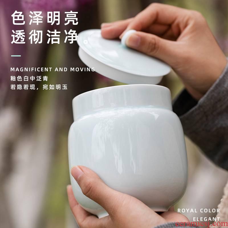 Shadow blue its tea jar airtight jar with cover the receive a case from jingdezhen ceramic white tea pu 'er tea home as cans