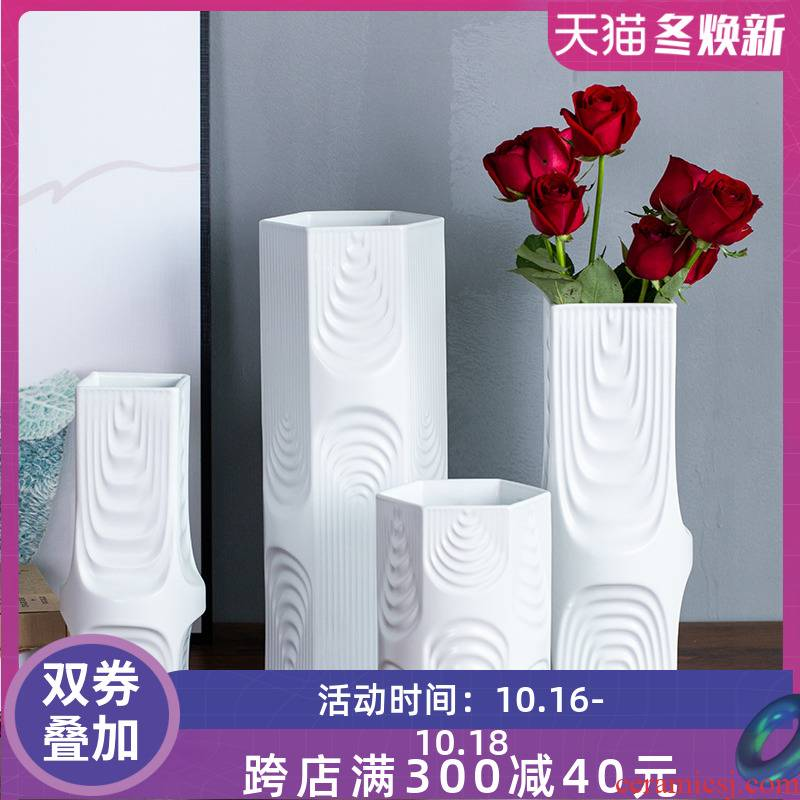 White creative ceramic vase furnishing articles dried flower arranging flowers I and contracted sitting room TV cabinet decoration home decoration