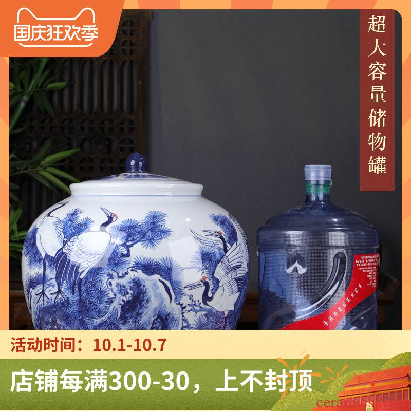 Large cranes caddy fixings Large puer tea cake seal tea urn storage extra - Large ceramic white tea POTS Large capacity