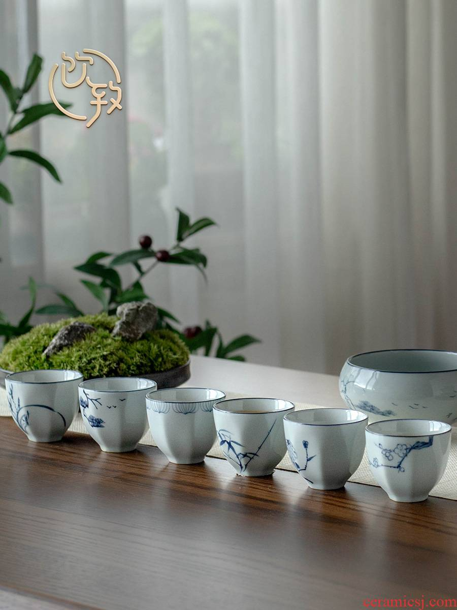 Ultimately responds cup to household retro jingdezhen ceramic kung fu masters cup sample tea cup tea sets manual small cups
