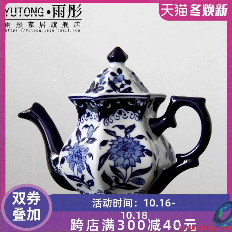 Blue and white porcelain of jingdezhen ceramics diamond coffee pot pot pot of cold boiled water