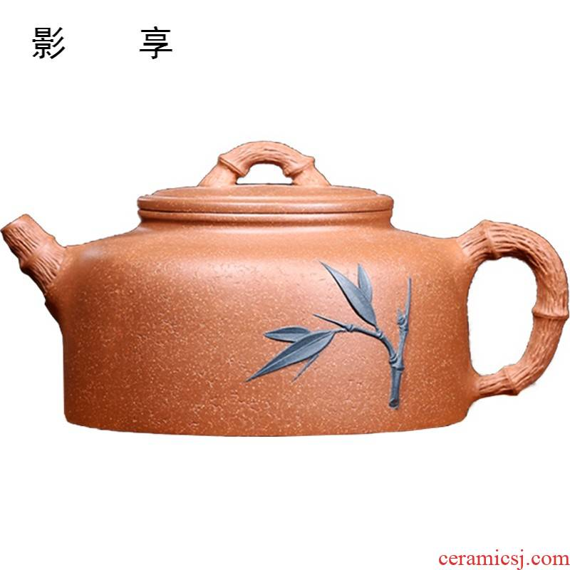 Shadow at yixing purple peak are it, clock small famous ore is carved painting craft teapot tea section of the mud