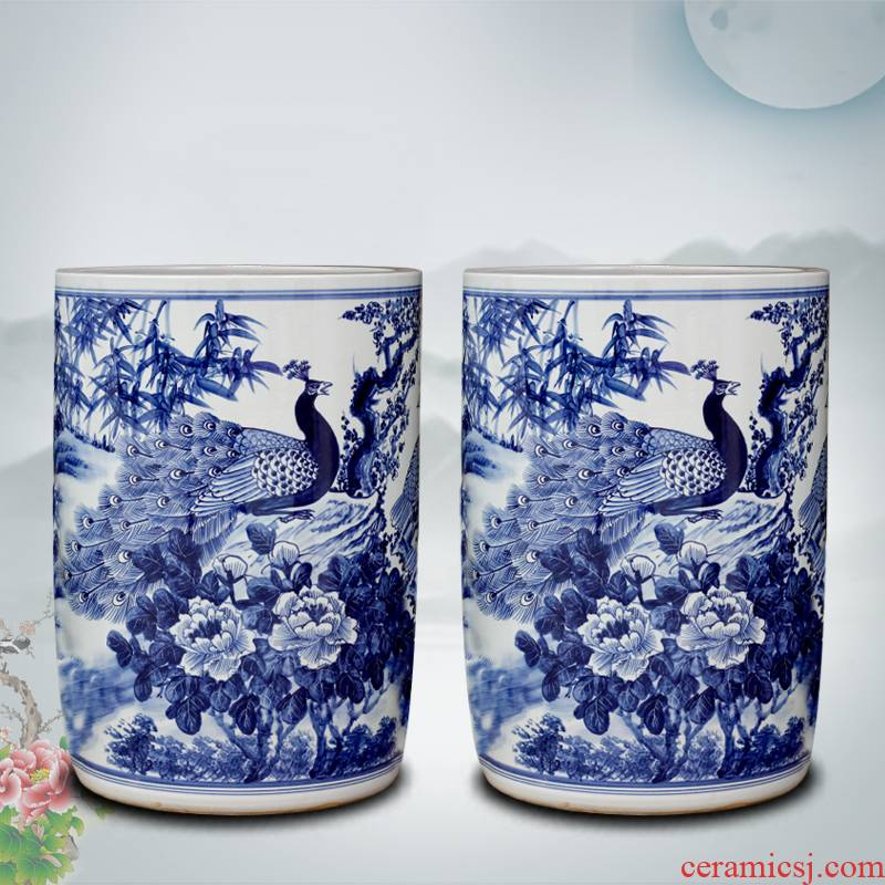 Jingdezhen porcelain ceramic hand - made peacock peony vases sitting room big furnishing articles calligraphy and painting scroll the receive accessory products
