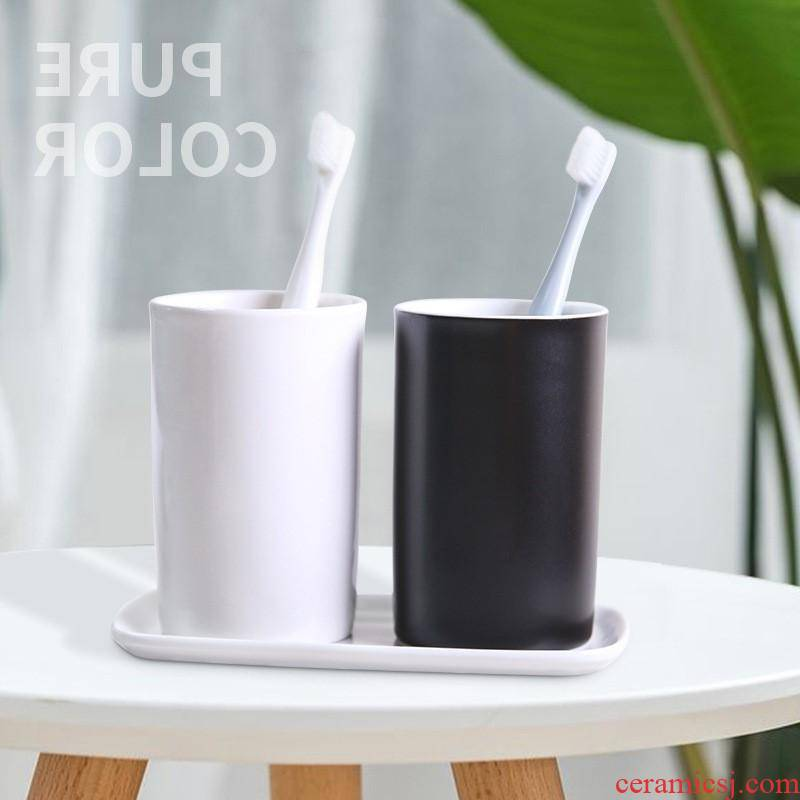 The kitchen grey building ceramic wash gargle cup brush my teeth gargle suit household glass milk cup customizable l