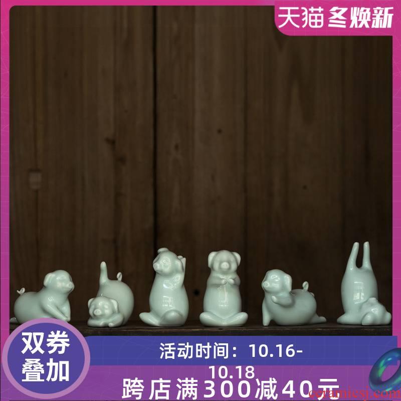 Soft outfit furniture green glaze ceramic creative modern decorative home outfit pig pig ceramic furnishing articles furnishing articles yoga