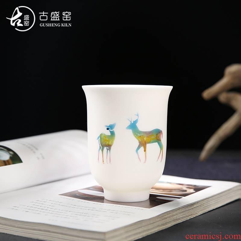 Ancient sheng up suet jade porcelain hand - made master cup single CPU thin foetus move checking sample tea cup large kung fu tea cups