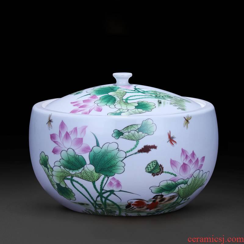Jingdezhen ceramics storage jar with a lid barrel oil jar caddy fixings 5 jins of home furnishing articles kitchen supplies