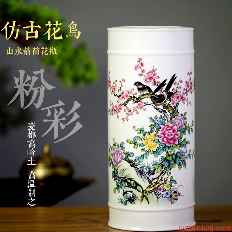 Jingdezhen ceramic quiver floret bottle household adornment flower arranging new Chinese style living room TV cabinet handicraft furnishing articles