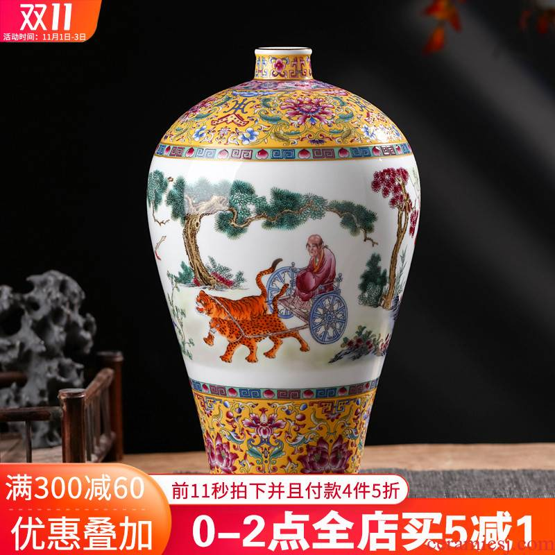 Archaize of jingdezhen ceramics powder enamel guiguzi down the vase mei bottles of Chinese style living room home furnishing articles